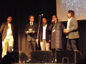 Tibet2Timbuk2 receiving the 2008 QSong BEMAC World Music Award for Crane Song